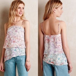 Anthropologie tiered silk tank
